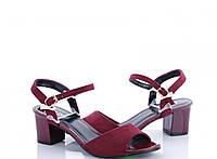 Бордовые женские замшевые босоножки на невысоком каблуке марсал 36 38 размер