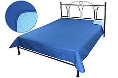 Покрывало на кровать, диван синее 150х212 двустороннее