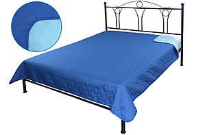 Покрывало на кровать, диван синее 150х212 двустороннее, фото 2