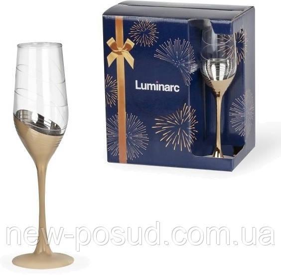 Набор бокалов для шампанского Luminarc Селест золотое кольцо 6 шт х 160 мл P1651/1