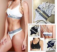 Комплект Calvin Klein Iron Strength стринги и топ .  Женское белье . Реплика
