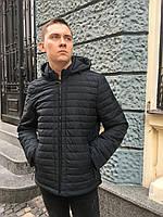 Куртка ветровка мужская стёганная молодежная весна осень с капюшоном короткая