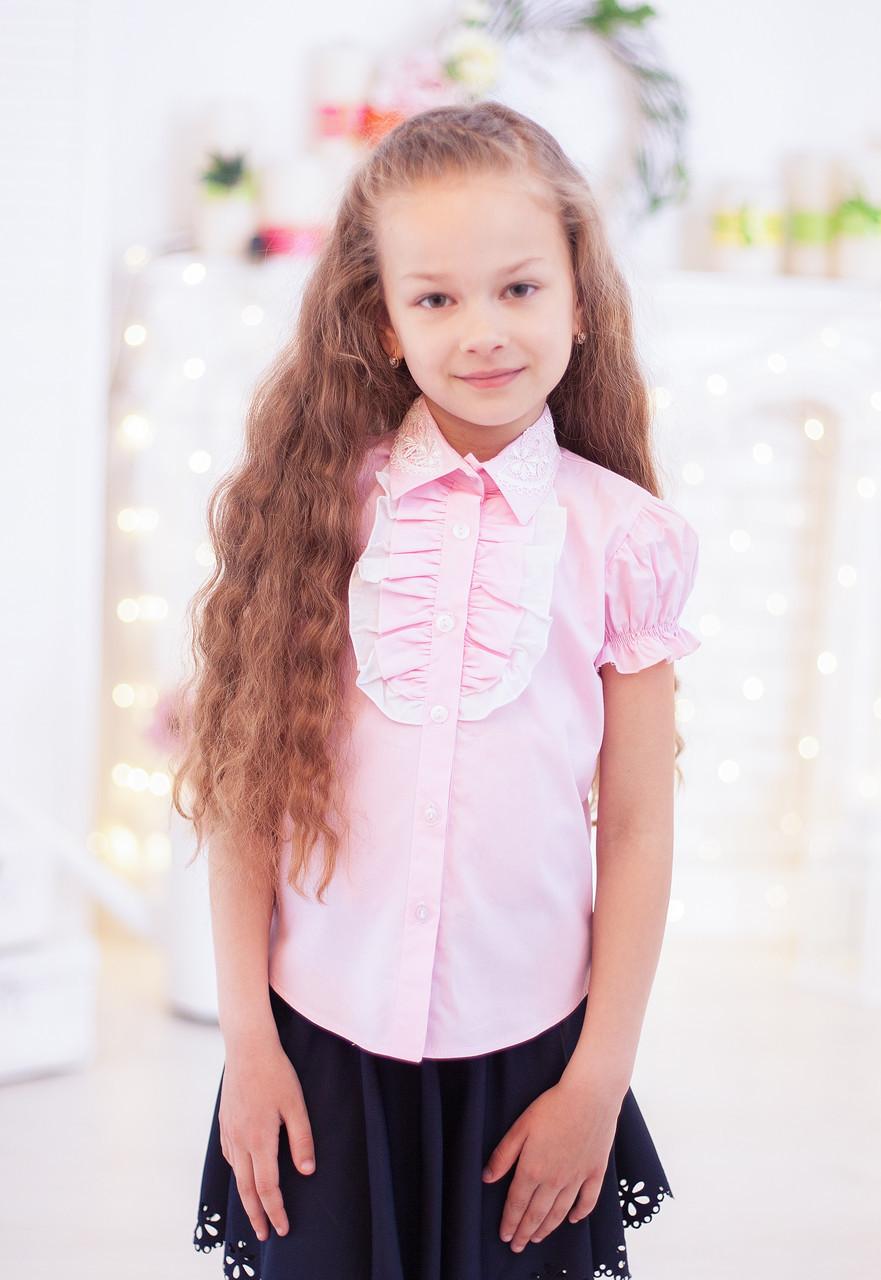 Школьная блузка на короткий рукав розовая мод. 2005