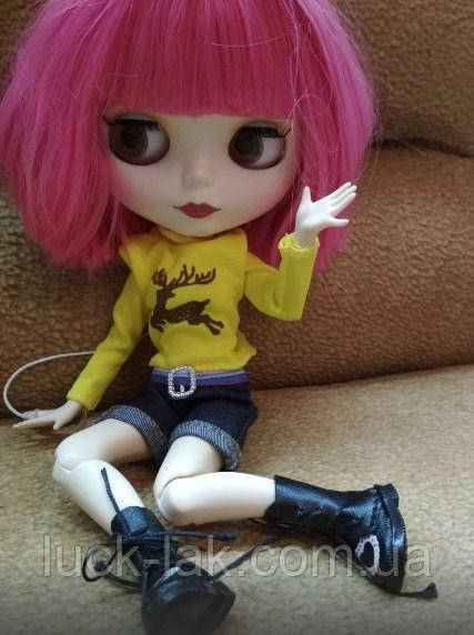 Шарнирная кукла Блайз (Айси), розовый цвет волос + 10 пар кистей, одежда и обувь в подарок