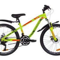"""Велосипед 24"""" дюйма 2-х колесный Discovery Flint, салатовый, дисковые тормоза, звоночек"""