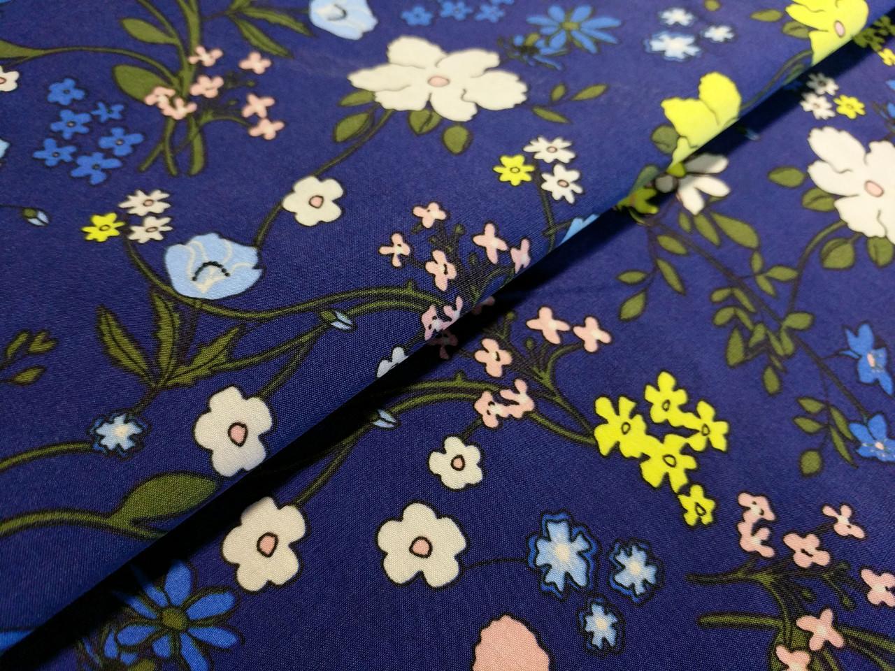 Бенгалин рисунок цветочная поляна, синий