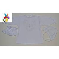 Набор для крестин с рубашечкой Узор. Вышивка белая, розовая. Размер 62 - 68 см