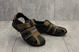 Подростковые босоножки Clarks 158 (лето, натуральная кожа, оливковый-черный) р. 35 36 37 38
