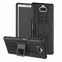 Чехол для Sony Xperia 10 / I4113 противоударный бампер с подставкой черный