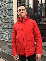 Мужская куртка ветровка красная на синтепоне удлиненная спортивная молодежная