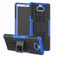 Чехол для Sony Xperia 10 / I4113 противоударный бампер с подставкой синий