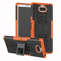 Чехол для Sony Xperia 10 / I4113 противоударный бампер с подставкой оранжевый