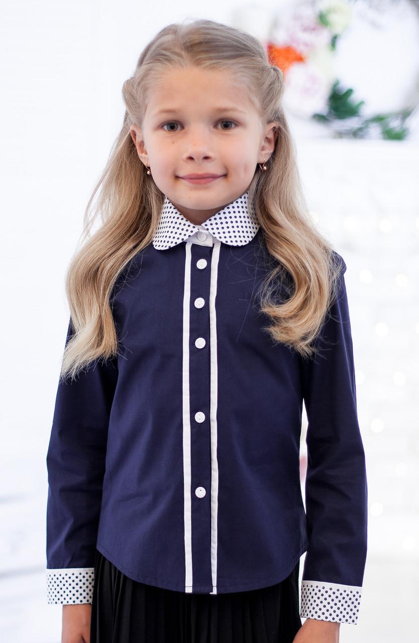 Блузка шкільна синя з комірцем в горошок мод.5002