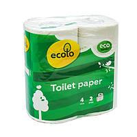 Туалетная бумага Ecolo 150 отрывов 2 слоя целлюлоза 4 рулона