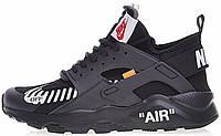 """Мужские кроссовки OFF WHITE x Nike Air Huarache Ultra """"Black"""" (Найк Хуарачи ОФФ Вайт) черные"""