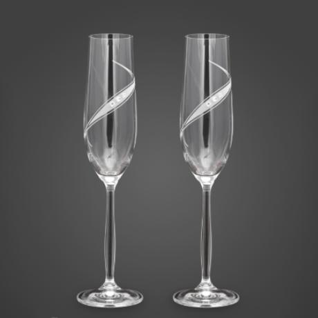 Свадебные бокалы с камнями сваровски VIP модель 11