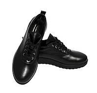 Черные кожаные туфли на шнурках, фото 1