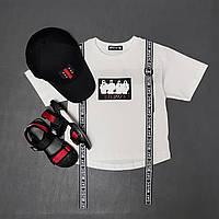 Модная футболка для мальчика с принтом и ремнями, фото 1