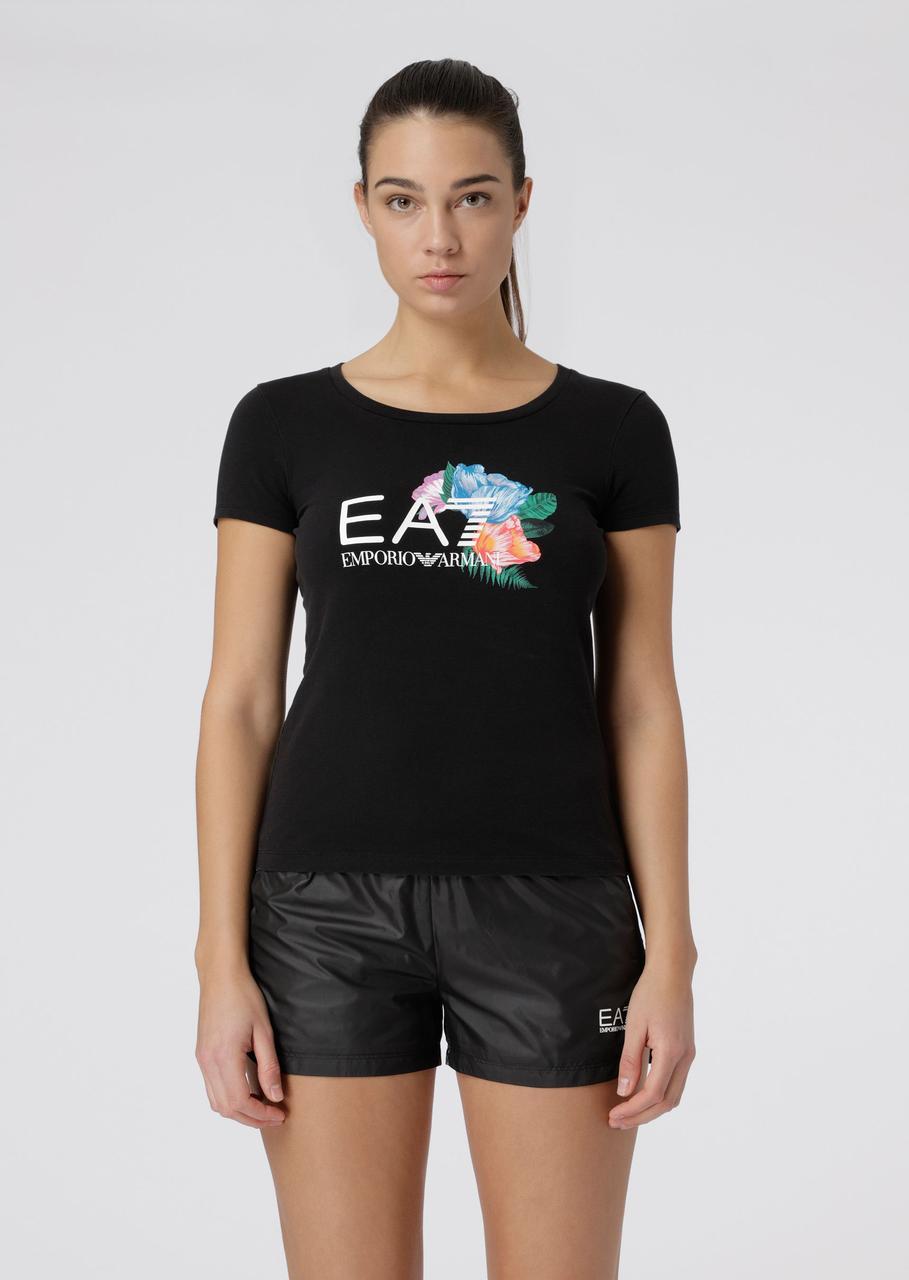 Футболка Stretch cotton T-shirt with floral   Emporio Armani EA7 оригинал