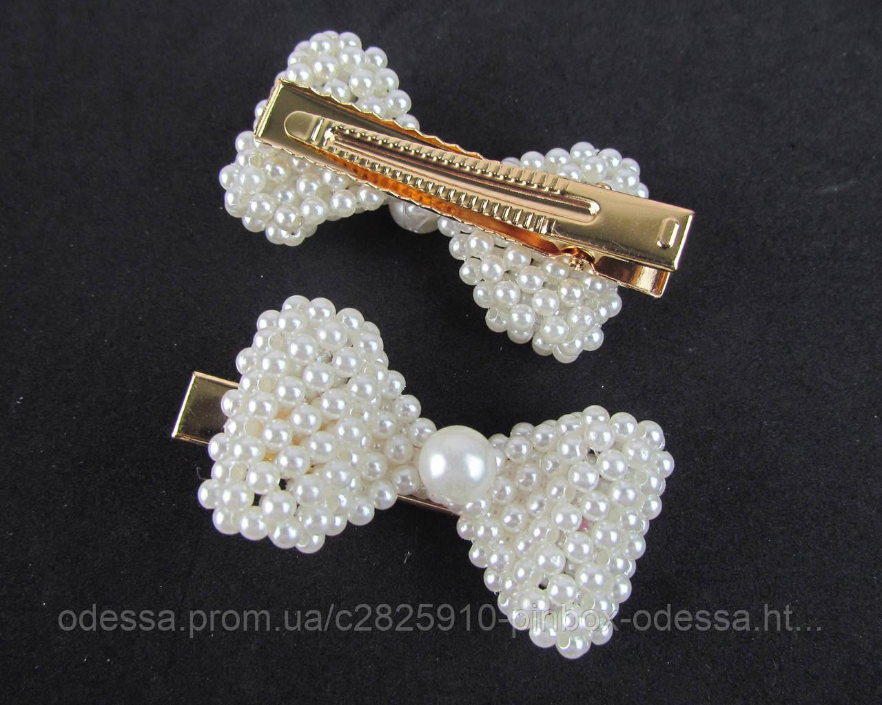 2b48aaf84a5f Заколки для волос с жемчугом Бантик плетеный 6*3 см 6 шт/уп.: продажа, цена  в Одессе. ...