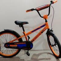 """Велосипед 20"""" дюймов 2-х колесный Crosser GK 717, оранжевый, новый ручной тормоз, звоночек, подножка"""