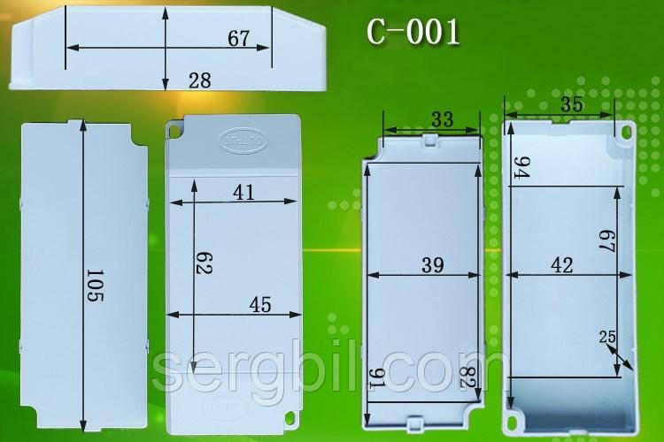 С001 корпус для LED драйвера 105 х 45 х 28мм пластик білий