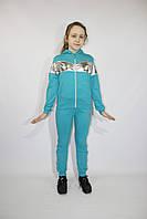 Спортивный трикотажный подростковый костюм  девочке с вставкой серебро , 140-146-15 2-158-164 рост, Украина