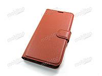 Кожаный чехол книжка Xiaomi MI Play (коричневый)