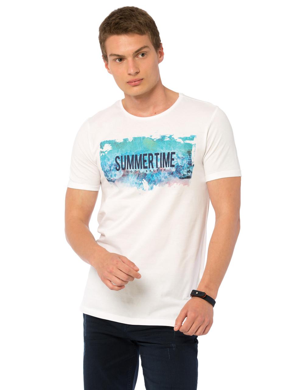 Белая мужская футболка Lc Waikiki / Лс Вайкики с надписью Summertime