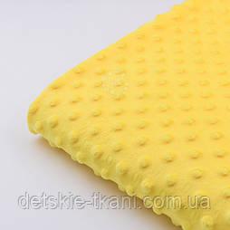 Відріз плюшу minky М-12 жовтого кольору розмір 100*80