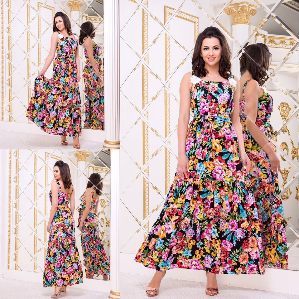 746c63c1755 Женское летнее платье в пол под пояс S
