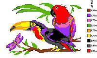 """Набор для вышивки нитками """"Попугаи"""". А5-082"""