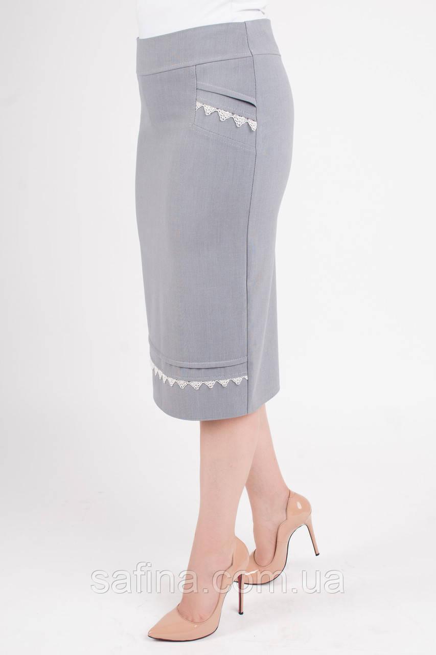 Летняя светло-серая юбка батал