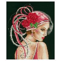 """Набор для вышивания,VERVACO """"Ретро. Девушка в шляпке с красными розами - Deco Lady on Black Background"""""""