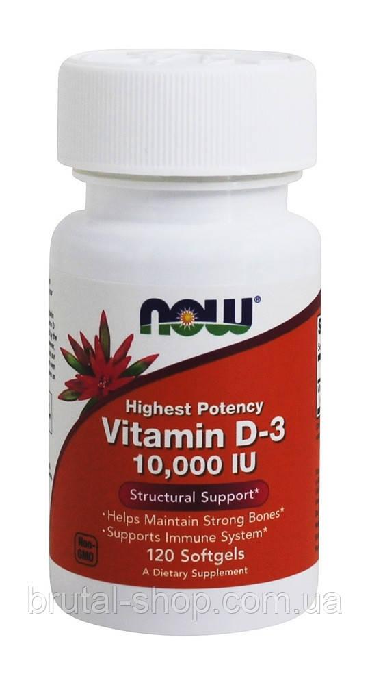 Витамин D3,  NOW Foods Vitamin D3 10,000 МЕ - 120 Softgels