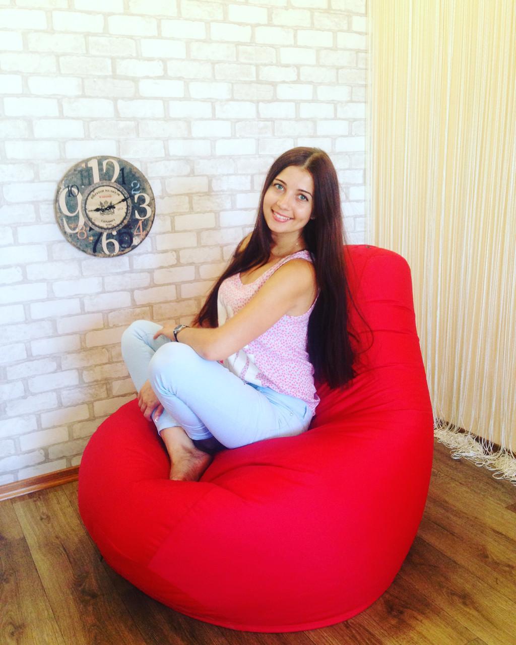 Кресло Мешок, бескаркасное кресло Груша ХХЛ, красный