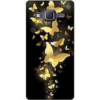 Чехол силиконовый бампер для Samsung J7 Galaxy J700 с рисунком Золотые бабочки