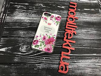 Силиконовый чехол iPhone 7,8 Цветы белый