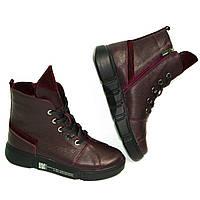 Кожаные ботинки цвет марсала на шнурках от производителя