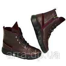 Шкіряні черевики колір марсала на шнурках від виробника