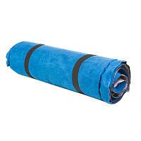 Коврик надувной велюр  голубой 188х64х4см.