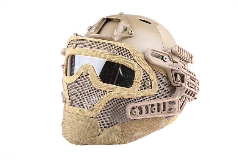 Реплика каски FAST PJ G4 System с защитой лица - Coyote [Emerson] (для страйкбола)