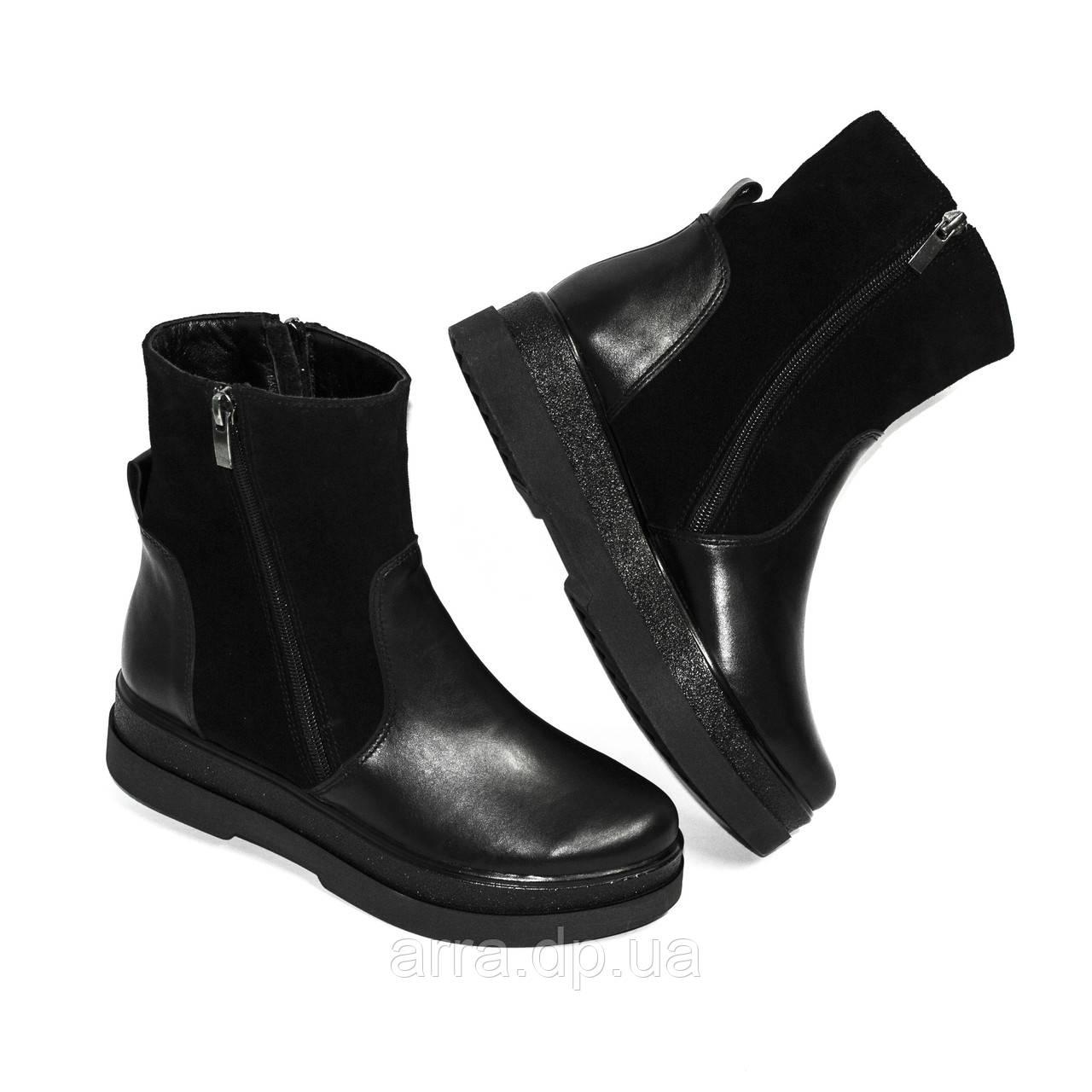 Модные ботинки на утолщенной подошве из натуральной кожи и замши.