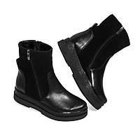 Модные ботинки на утолщенной подошве из натуральной кожи и замши., фото 1