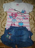 """Костюм футболка+шорты """"девочка с котелком"""" 1-3 года розовый"""