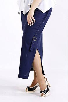 / Размер 42-74 / Женская длинная льняная юбка с разрезом / цвет синий 01111