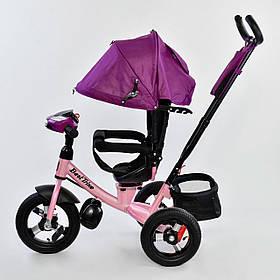 Дитячий триколісний велосипед з пультом Best Trike 7700 B 7599 поворотне сидіння, надувні колеса
