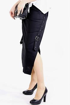 / Размер 42-74 / Женская длинная льняная юбка с разрезом / цвет черный 01111