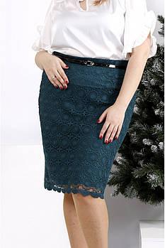/ Размер 42-74 / Женская юбка до колен зеленого цвета 0950