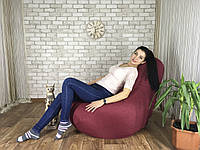 Кресло Мешок, бескаркасное кресло Груша ХХЛ, микророгожка, бордо